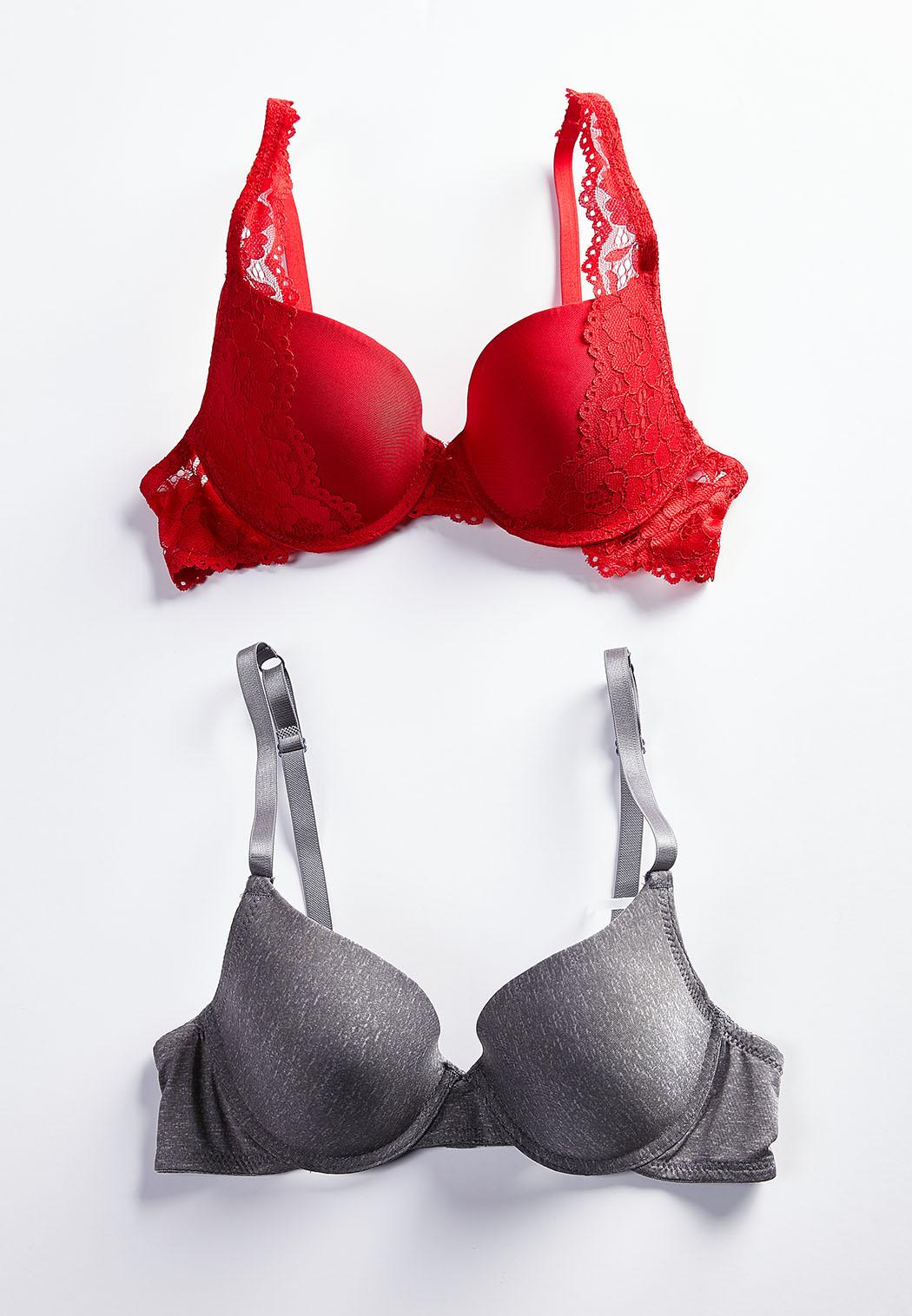 a6135604db0bd Plus Size Red Lace And Gray Bra Set Bras Cato Fashions