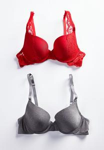 Plus Size Red Lace And Gray Bra Set