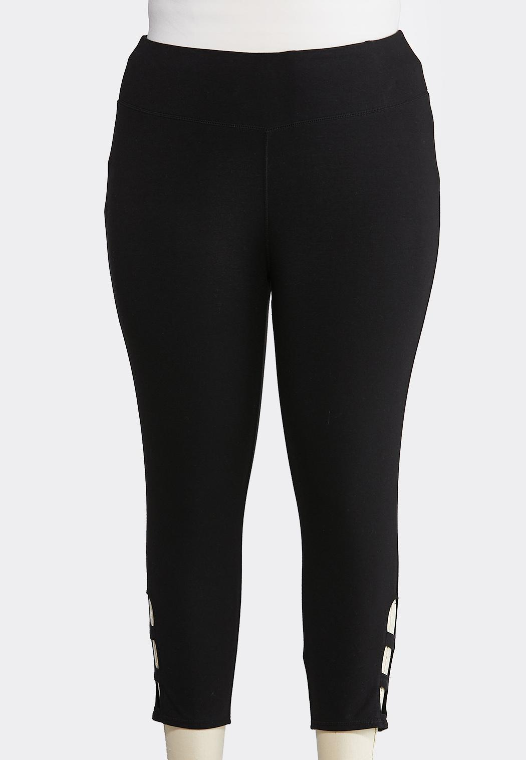 dea0dce10ee928 Plus Size Cutout Lattice Cropped Leggings Bottoms Cato Fashions