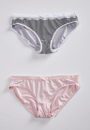 Stripe And Soft Pink Panty Set