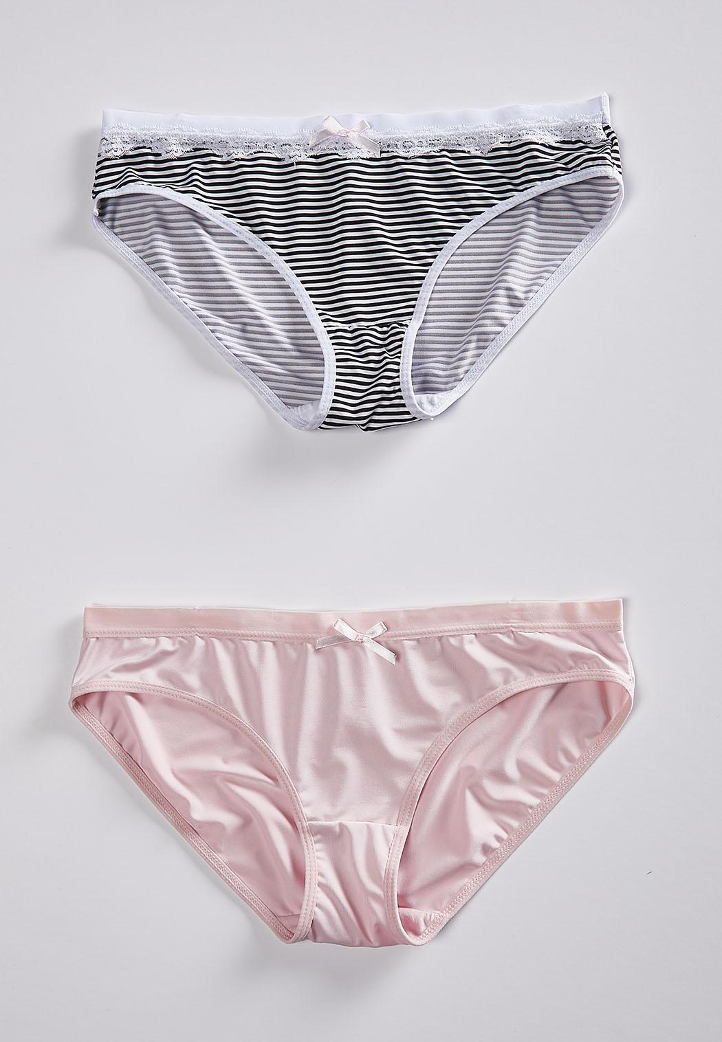 ab30e2f835 Plus Size Stripe And Soft Pink Panty Set Panties Cato Fashions