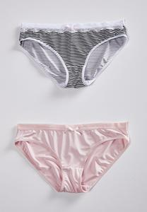 Plus Size Stripe And Soft Pink Panty Set