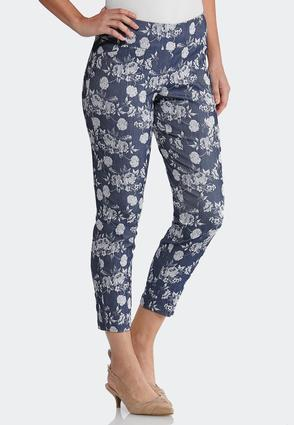 Floral Denim Bengaline Pants