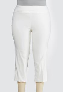 Plus Size Cropped Lattice Hem Pants