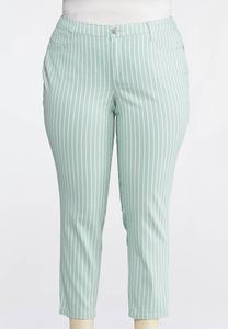 Plus Size Green Stripe Ankle Jeans