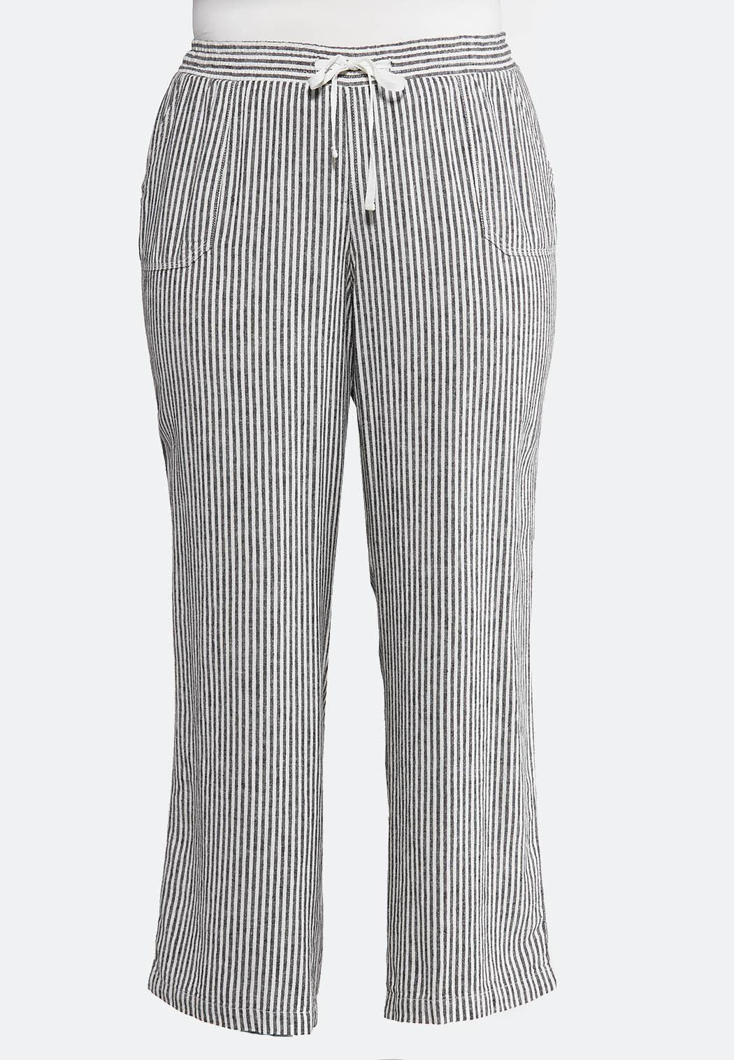 2dd5a4bdfd7 Plus Size Stripe Linen Beach Pants Pants Cato Fashions