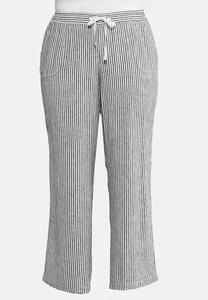 Plus Size Stripe Linen Beach Pants