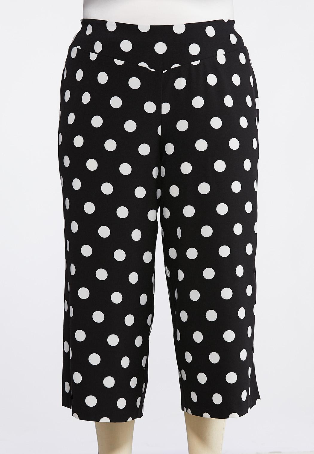 Plus Size Cropped Polka Dot Pants