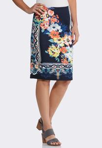 Floral Paisley Pencil Skirt