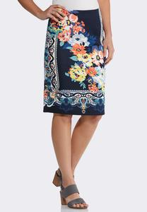 Floral Paisley Pencil Skirt