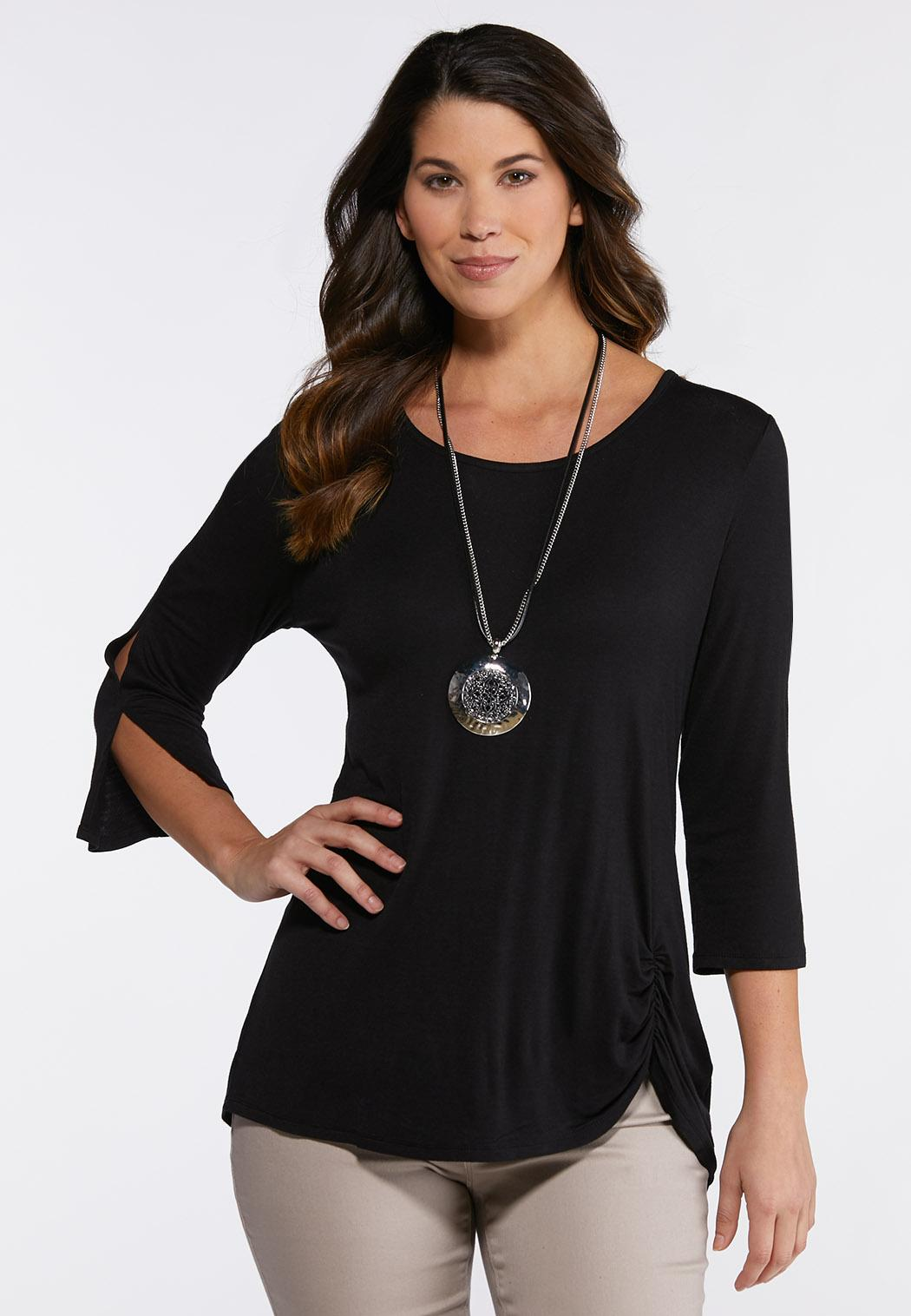 Plus Size Ruched Slit Sleeve Top