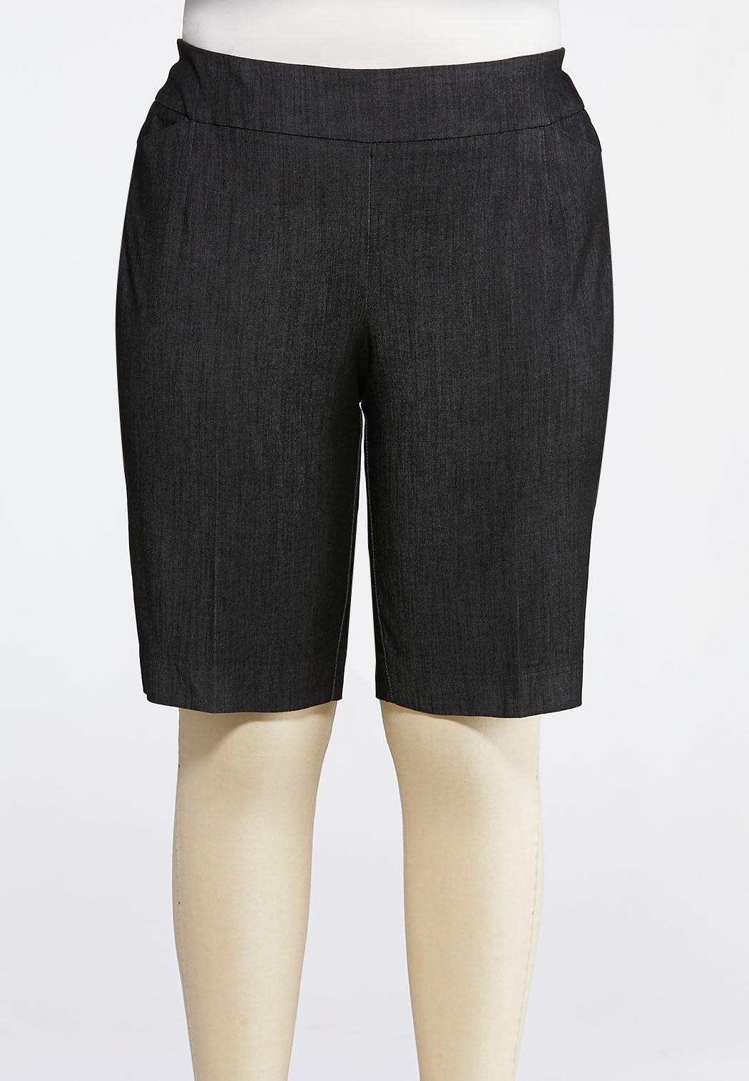 Plus Size Pull-On Denim Bermuda Shorts