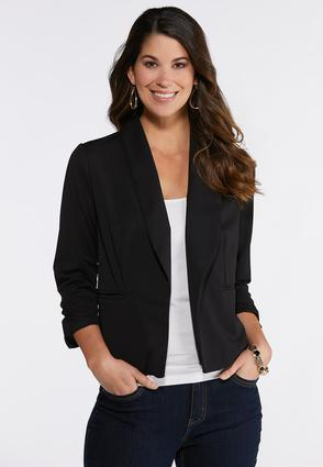 Solid Ruched Sleeve Blazer