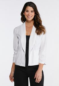 Plus Solid Ruched Sleeve Blazer