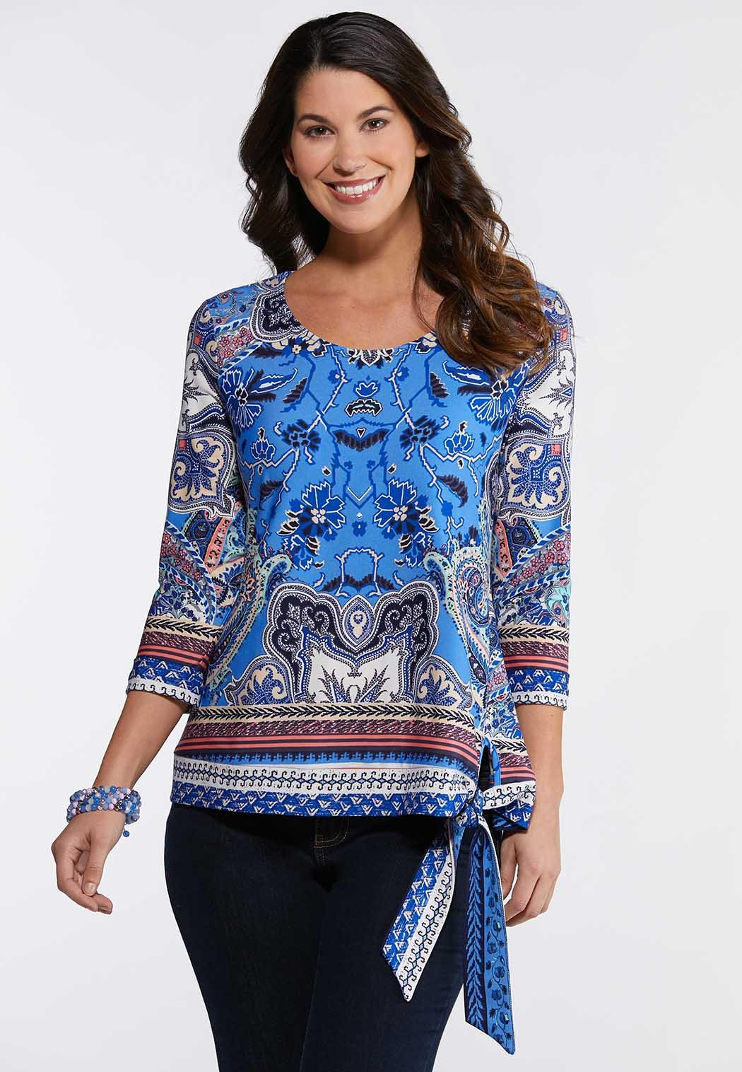 8541eb31414 Plus Size Paisley Side Tie Top Tees   Knit Tops Cato Fashions
