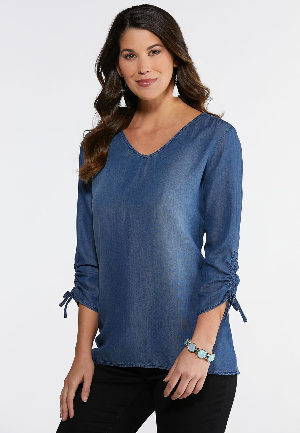Plus Chambray Ruched Sleeve Top