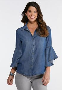 Plus Size Chambray Ruffled Sleeve Shirt
