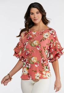 Plus Floral Pleated Sleeve Top