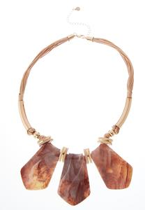 Lucite Triple Sheild Cord Necklace
