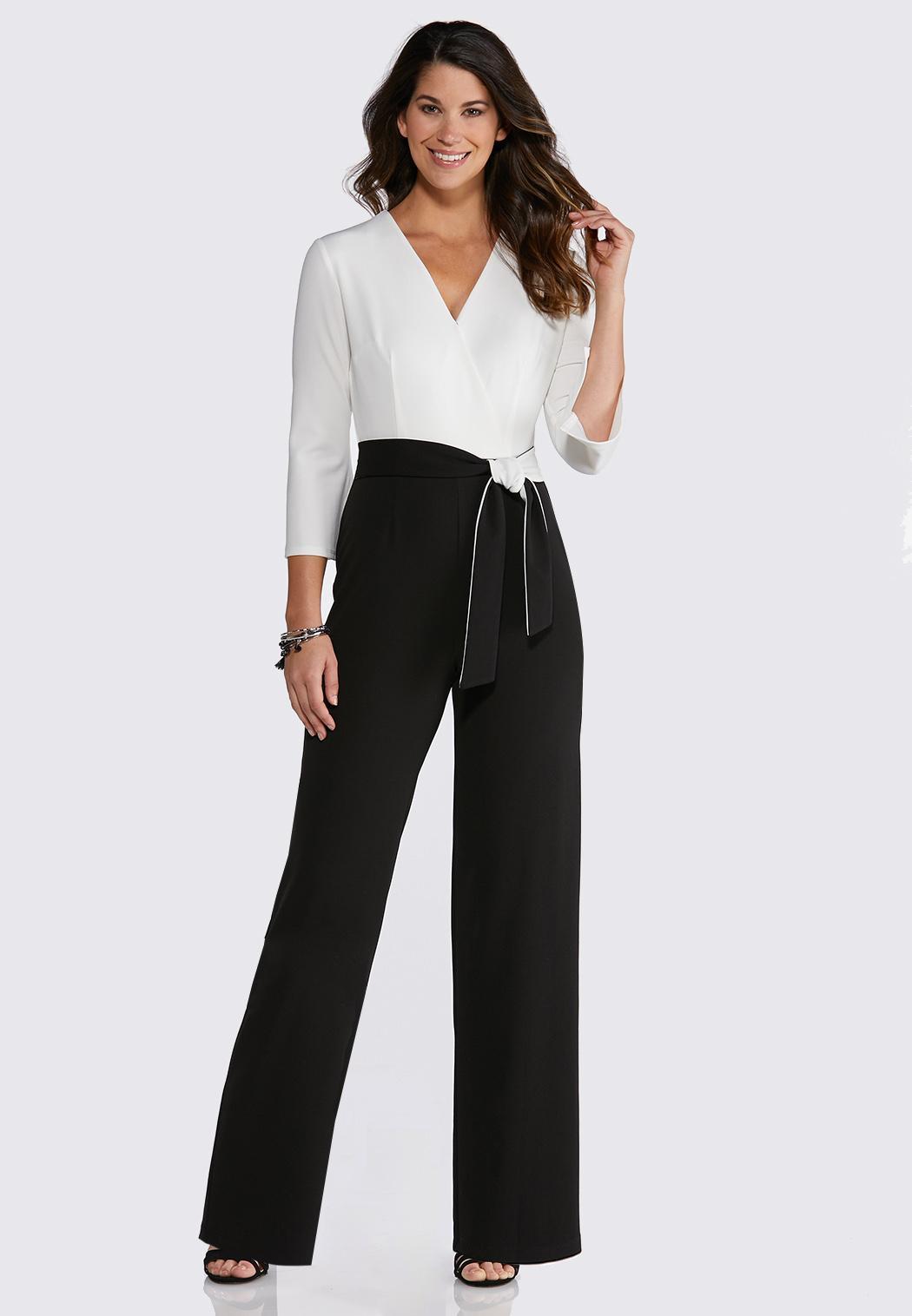 26dec4862f5 Plus Size Colorblock Tie Waist Jumpsuit Jumpsuits Cato Fashions