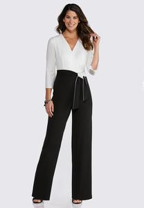 Plus Size Colorblock Tie Waist Jumpsuit
