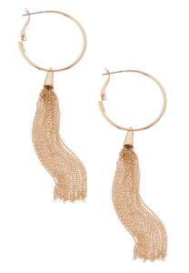 Gold Tassel Hoop Earrings
