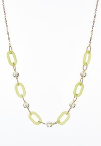 Oval Lucite Chain Link Necklace