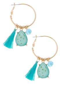 Tassel Charm Hoop Earrings