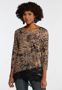 Plus Size Lacy Animal Print Top
