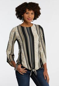 Textured Stripe Paisley Top