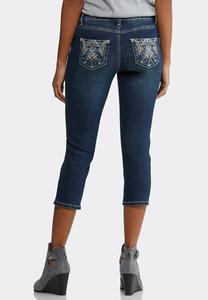 Cropped Aztec Embellished Jeans