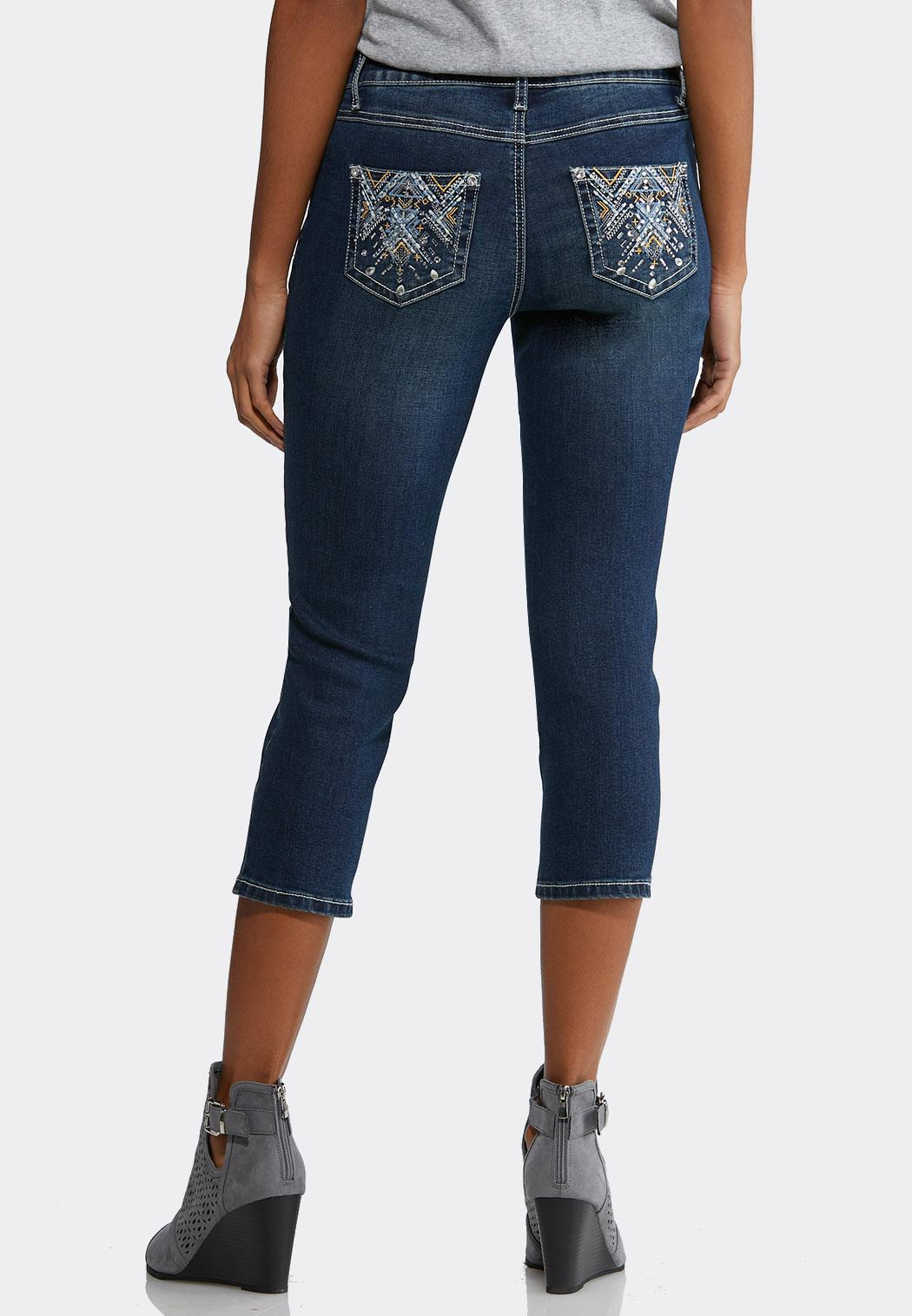 d9732926602 Cropped Aztec Embellished Jeans alternate view Cropped Aztec Embellished  Jeans