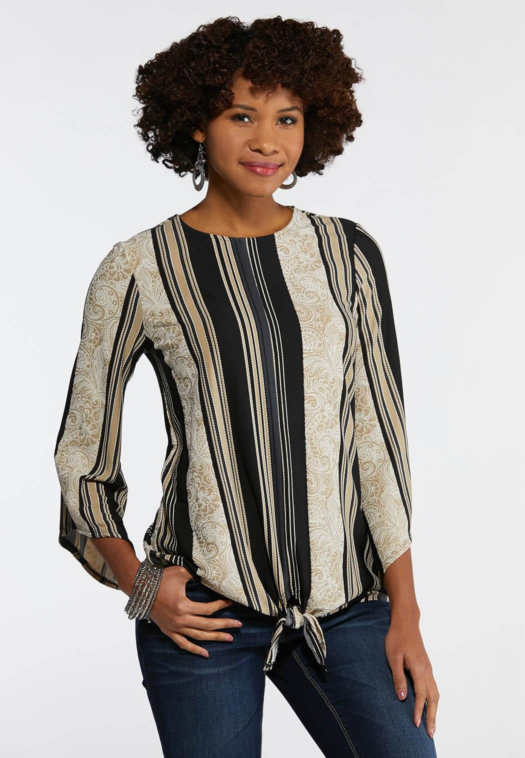 043240e3f4a30 Plus Size Textured Stripe Paisley Top Tees   Knit Tops Cato Fashions