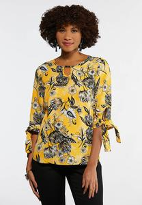 Gold Floral Tie Sleeve Top