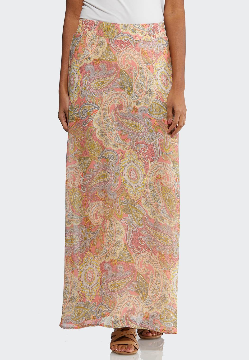 Plus Size Pink Paisley Maxi Skirt