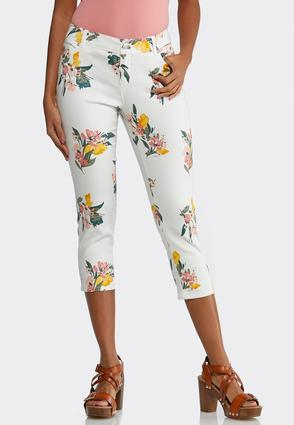 Cropped Floral Jeans