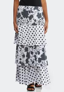 Plus Tiered Floral Dot Skirt