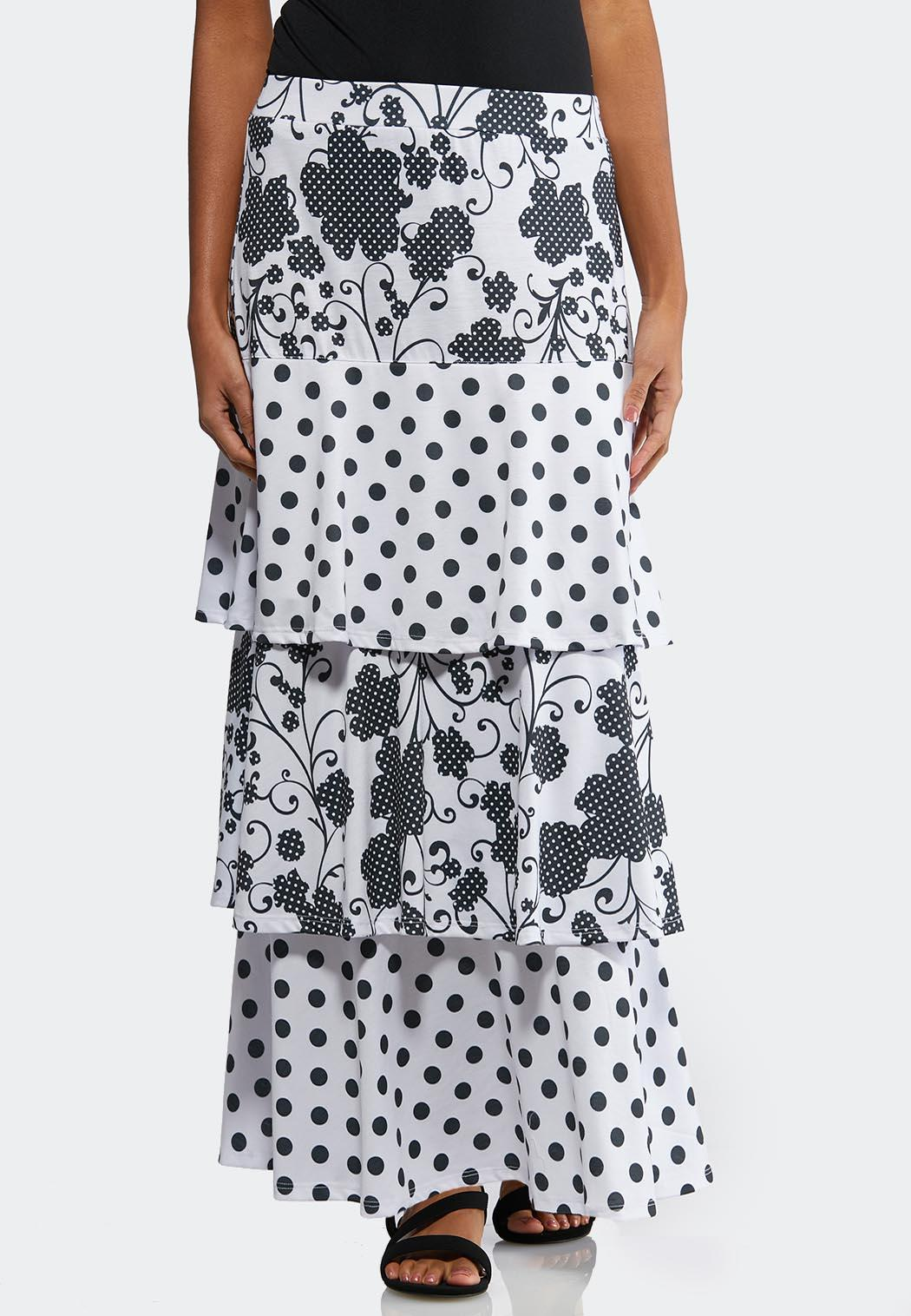 cbf339b6a6 Plus Tiered Floral Dot Skirt Maxi Cato Fashions