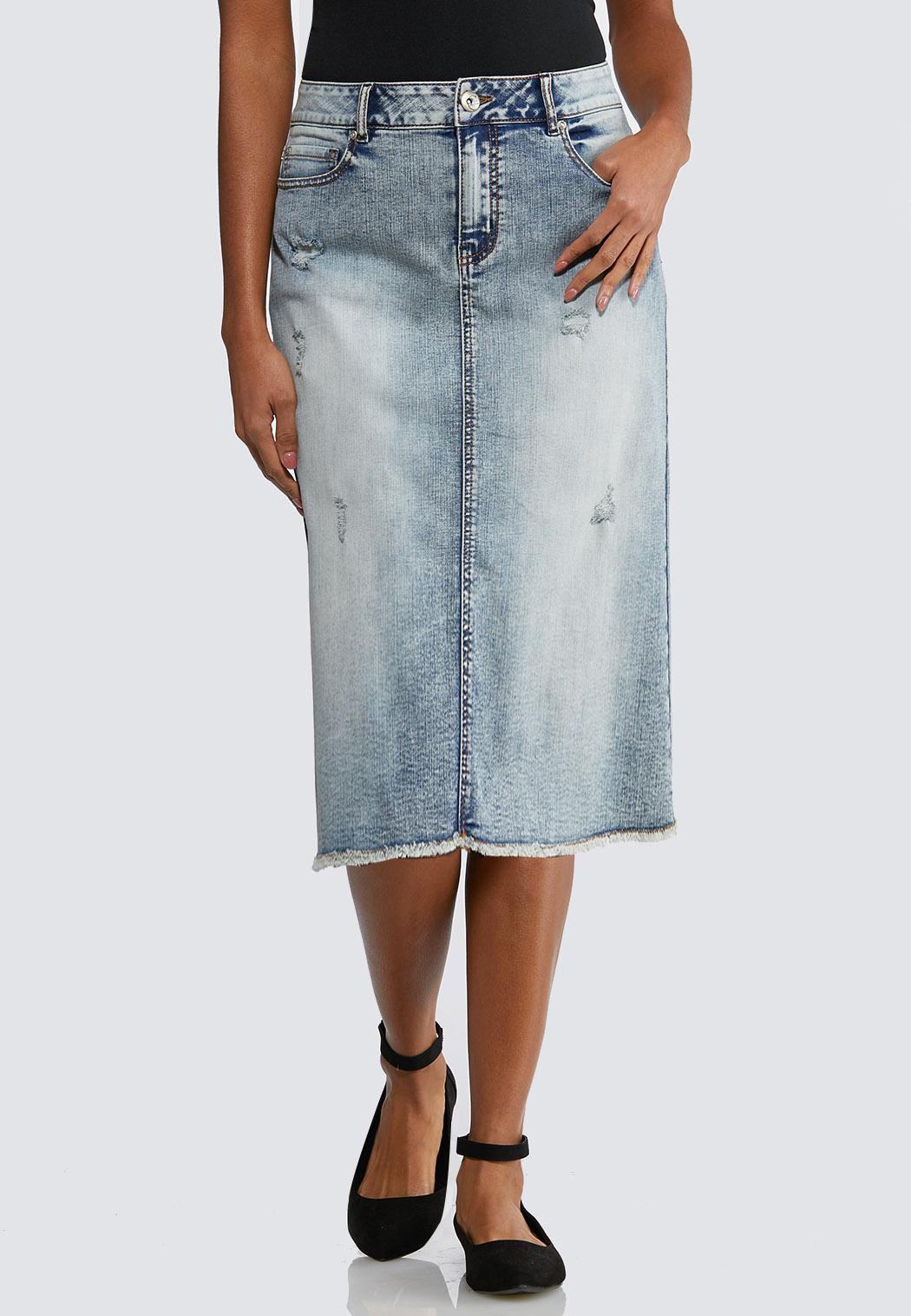 Plus Size Distressed Faded Denim Skirt