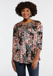 Floral Lace Yoke Swing Top