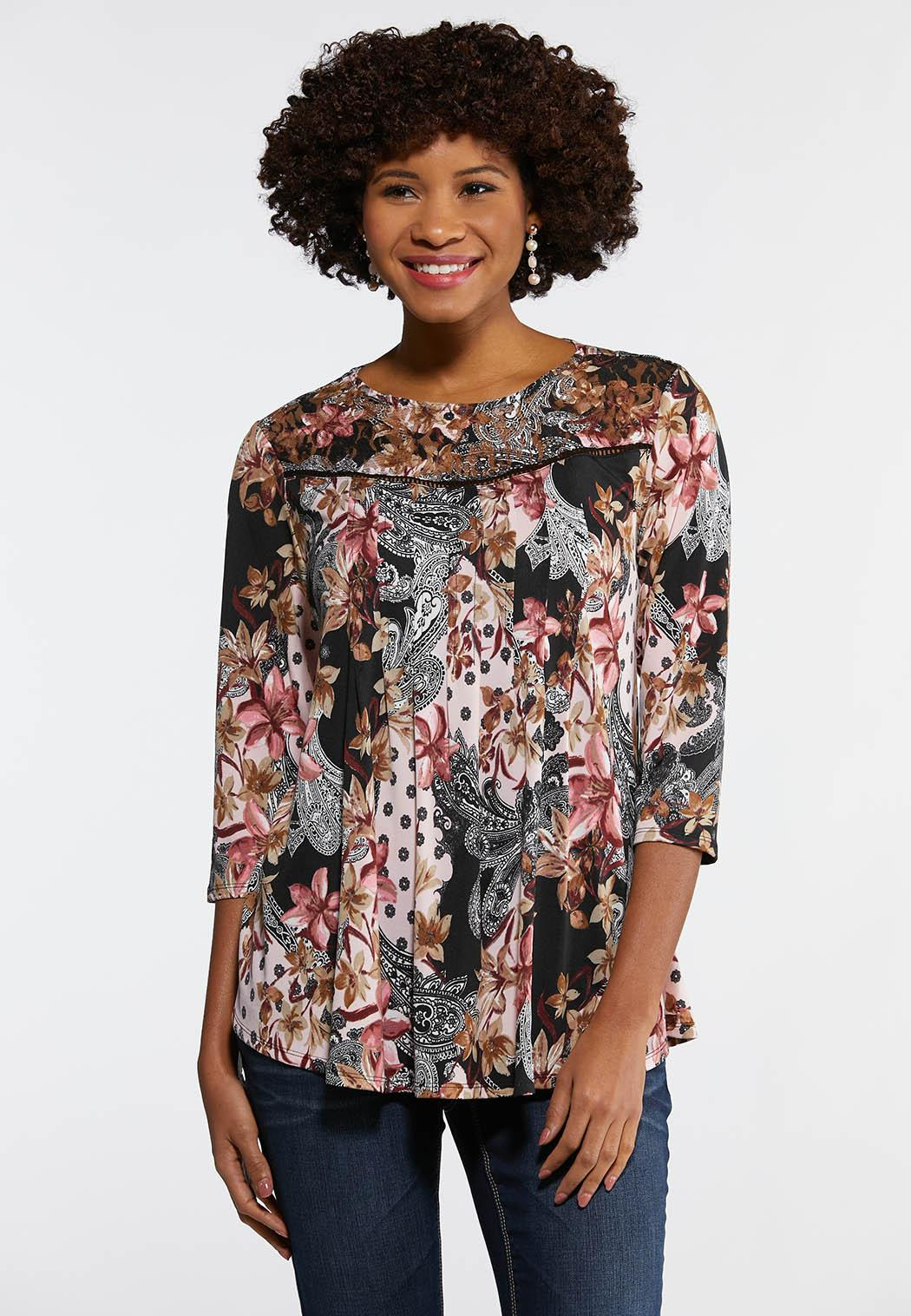 c947bbf5f4d Plus Size Floral Lace Yoke Swing Top Tees   Knit Tops Cato Fashions