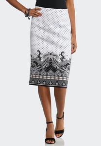Plus Dotted Paisley Scuba Skirt
