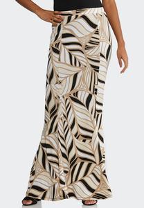 Neutral Leaf Maxi Skirt