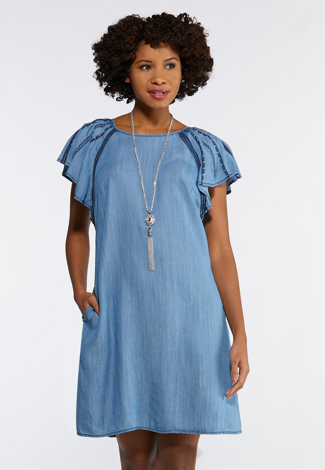 Plus Size Chambray Flutter Sleeve Dress
