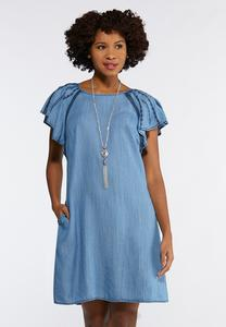 Plus Size Chambray Flutter Sleeve Dress