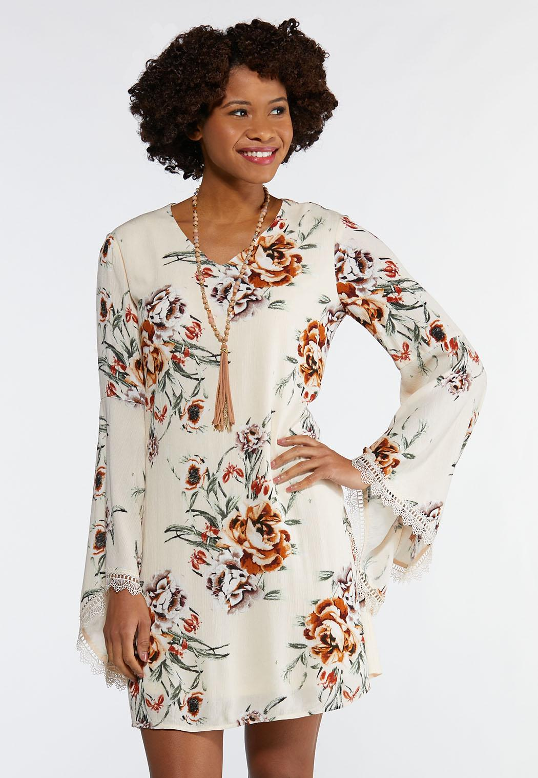Plus Size Ivory Floral Swing Dress A-line & Swing Cato Fashions