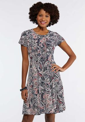Seamed Coral Paisley Dress
