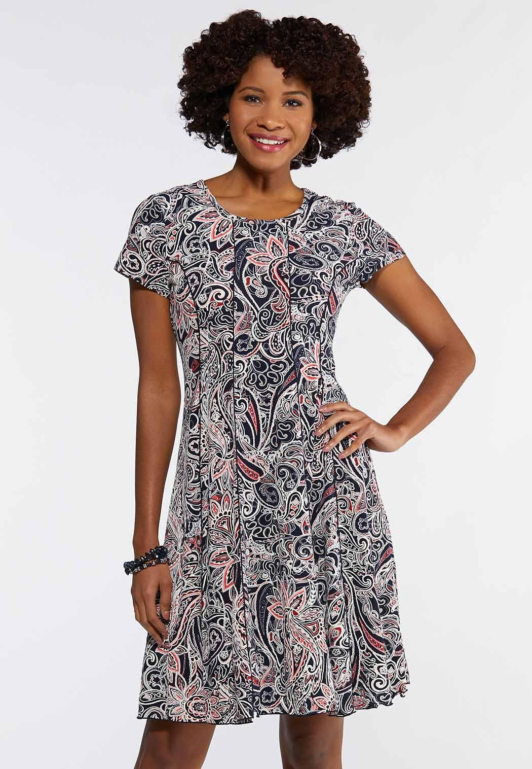Plus Seamed Coral Paisley Dress
