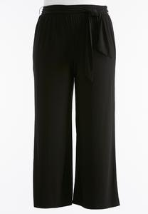 Plus Extended Belted Knit Palazzo Pants