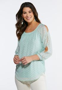 Jacquard Slit Sleeve Top